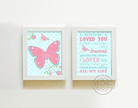 Whimsical Nursery Butterfly Rhyme Nursery Prints - Set of 2 - Unframed Prints-B01CRT8DJ6-MuralMax Interiors