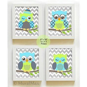 Whimsical Nursery Owl Art - Unisex Chevron Unframed Prints - Set of 4-Blue Lime Gray Art-MuralMax Interiors