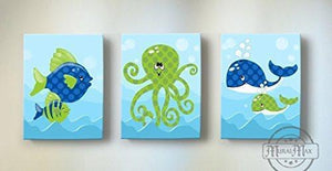 Whimsical OctopUSD & Fish Theme - Canvas Nursery Decor - Set of 3-B018ISJMX6-MuralMax Interiors