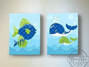 Whimsical Whales & Fish Theme - Canvas Nursery Decor - Set of 2-B018ISKEC4-MuralMax Interiors