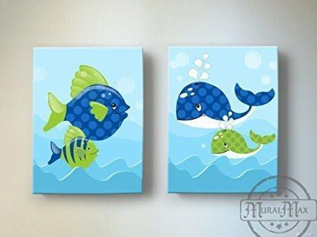 Whimsical Whales & Fish Theme - Canvas Nursery Decor - Set of 2-B018ISKEC4