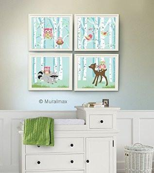 Woodland Animals In Forest - Owl Deer Raccoon - Set of 4 - Unframed Prints - Baby Girl Nursery Decor