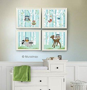 Woodland Nursery Art - Animal Nursery Decor -Owl Raccoon Deer - Set of 4 - Unframed Prints-MuralMax Interiors