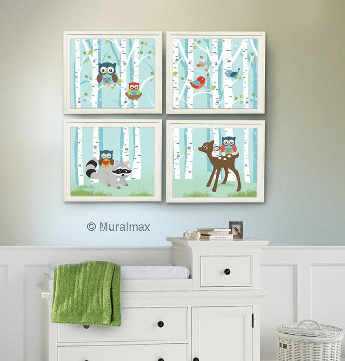 Woodland Nursery Art - Animal Nursery Decor -Owl Raccoon Deer - Set of 4 - Unframed Prints
