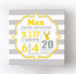 Woodland Nursery Decor Baby Birth Announcements Canvas Art - New Baby GiftsBaby ProductMuralMax Interiors