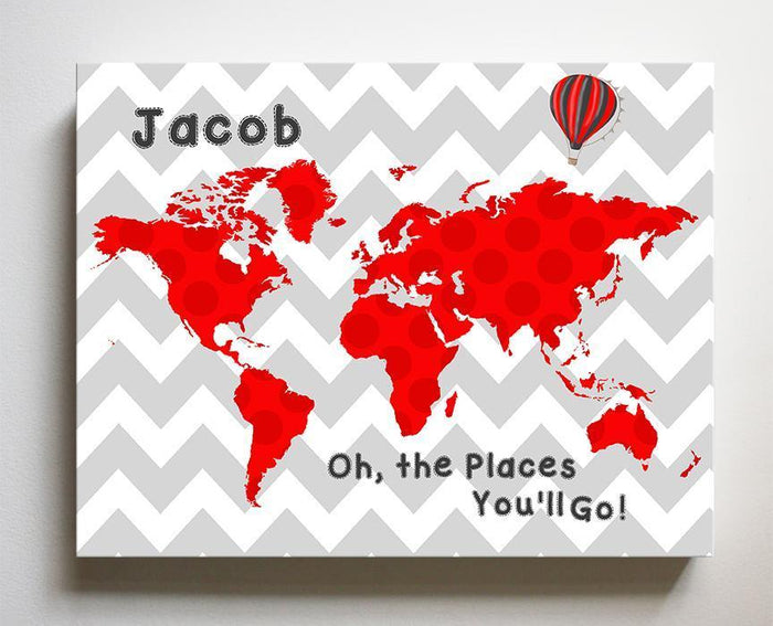 World Map Boy Room Decor - Oh The Places You'll Go - Personalized Dr Seuss Nursery Wall Art - Chevron Canvas Wall Art