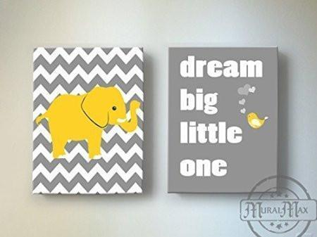 Yellow And Gray Baby Nursery Art Dream Big Little One Rhyme - Chevron Canvas Decor -The Elephants & Lovebird Collection - Set of 2