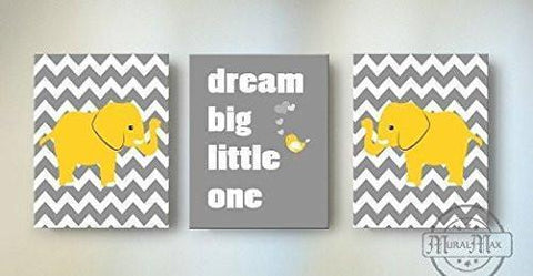 Yellow and Gray Baby Nursery Decor - Dream Big Little One Chevron Canvas Nursery Art - Set of 3