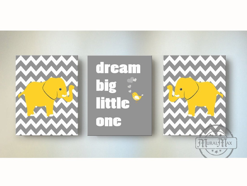 Yellow and Gray Baby Nursery Decor - Dream Big Little One Chevron Canvas Nursery Art - Set of 3-MuralMax Interiors