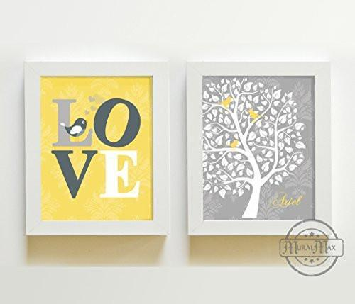 Yellow and Gray Girl Room Decor The Love Bird Tree Collection - Set of 2 - Unframed Prints-B01CRMJ5YK