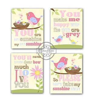 You Are My Sunshine Baby Bird Nursery Collection - Unframed Prints - Set of 4-B018KOAQEM-MuralMax Interiors