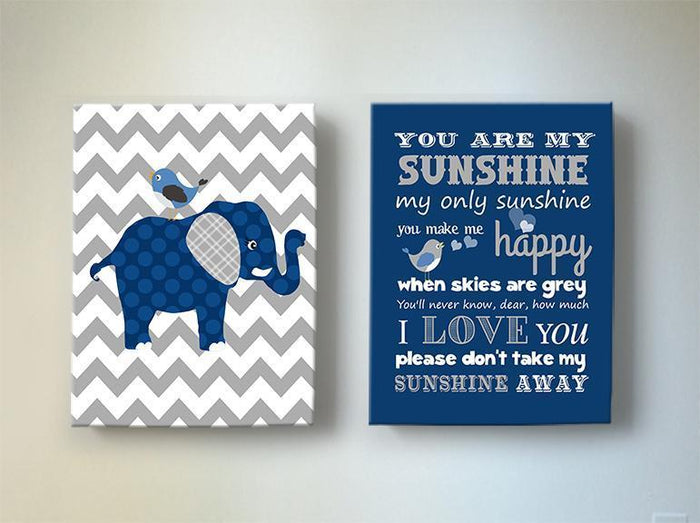 You Are My Sunshine Baby Boy Nursery Art Canvas Decor - Navy And Gray Elephant Art - Set of 2