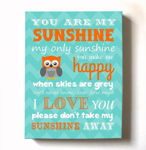 You Are My Sunshine Baby Boy Nursery Decor Canvas Art - Inspirational Quote Baby Shower Gift-MuralMax Interiors
