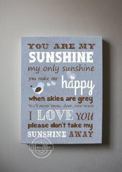 You Are My Sunshine Baby Boy Wall Art - Canvas Nursery Art Decor -The Lovebird Collection-B018ISLIHO-MuralMax Interiors