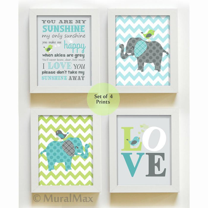 You Are My Sunshine Chevron Elephant Nursery Art - Set of 4 - Unframed Prints-Aqua Green Gray Decor