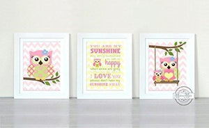 You Are My Sunshine Collection - Chevron Unframed Prints - Set of 3-B018KOGJMU-MuralMax Interiors