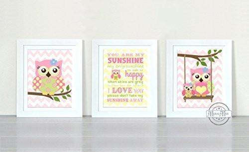 You Are My Sunshine Collection - Chevron Unframed Prints - Set of 3-B018KOGJMU