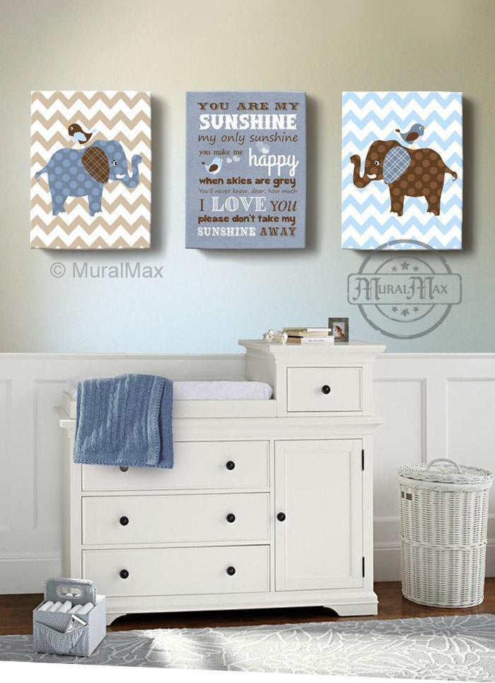 You Are My Sunshine Elephant Canvas Nursery Wall Art - Set of 3-Brown Blue Nursery Decor
