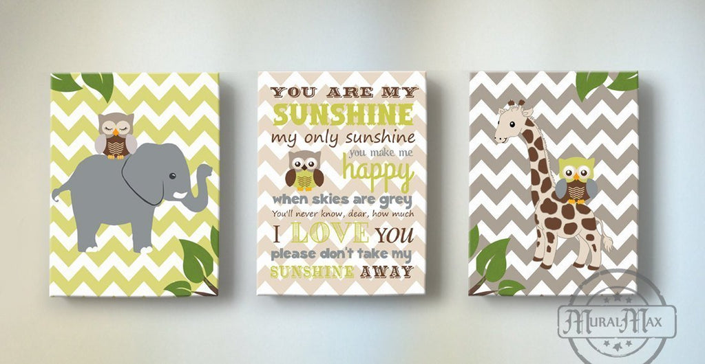 You Are My Sunshine Elephant & Giraffe Baby Boy Room Decor - Set of 3-Brown Green Nursery Art-MuralMax Interiors