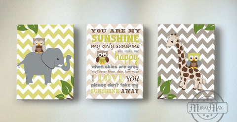 You Are My Sunshine Elephant & Giraffe Baby Boy Room Decor - Set of 3-Brown Green Nursery Art