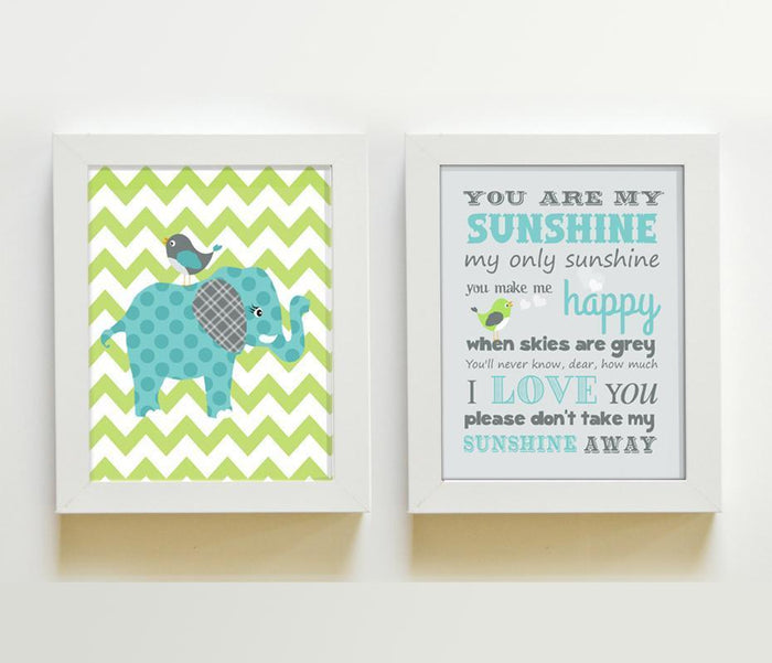 You Are My Sunshine Elephant Nursery Art - Set of 2 Green Teal Nursery Decor - Unframed Prints