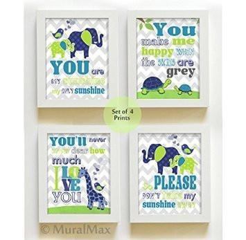 You Are My Sunshine Giraffe & Friends Collection - Chevron Unframed Prints - Set of 4-B018KOB43O