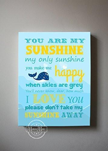 You Are My Sunshine My only Sunshine Baby Nursery Decor - Canvas Wall Decor - The Whale Collection-B018ISMDHS-MuralMax Interiors