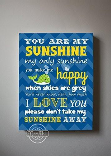 You Are My Sunshine My only Sunshine Theme - Canvas Wall Decor-B018ISH7MY-MuralMax Interiors