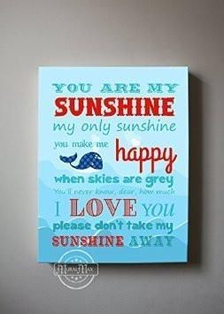 You Are My Sunshine My only Sunshine Theme - Canvas Wall Decor-B018ISIR7S-MuralMax Interiors