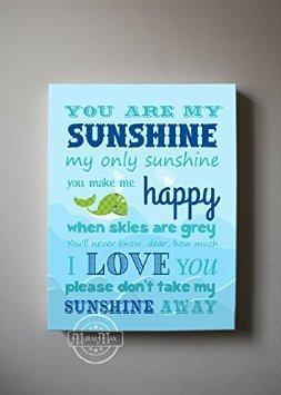 You Are My Sunshine My only Sunshine Theme - Canvas Wall Decor-B018ISK5UK-MuralMax Interiors