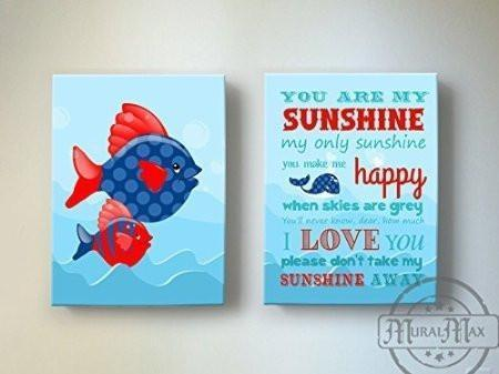You Are My Sunshine My only Sunshine Theme - Canvas Wall Decor - Set of 2-B018ISHURQ-MuralMax Interiors