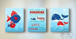 You Are My Sunshine My only Sunshine Theme - Canvas Wall Decor - Set of 3-B018ISHZHQ-MuralMax Interiors