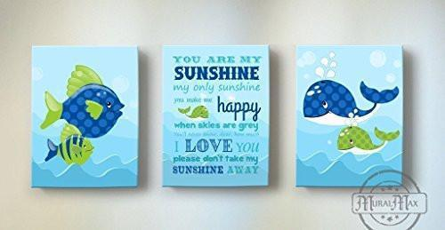 You Are My Sunshine My only Sunshine Theme - Canvas Wall Decor - Set of 3-B018ISJW18-MuralMax Interiors