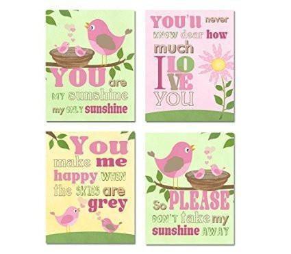 You are My Sunshine - Newborn Nursery Quotes - Unframed Prints - Set of 4-B018KOIR3E