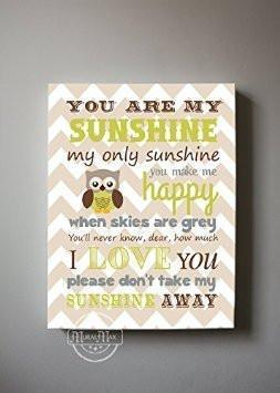 You Are My Sunshine Nursery Art Boy Room Decor - Chevron Canvas Art - Brown Tan Decor-MuralMax Interiors