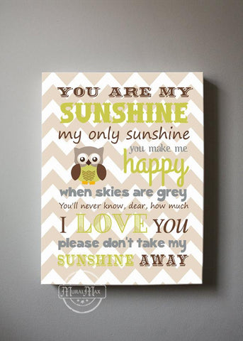 You Are My Sunshine Nursery Art Boy Room Decor - Chevron Canvas Art - Brown Tan Decor