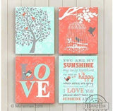 You Are My Sunshine Nursery Art - Canvas Home Decor -The Lovebird Collection - Set of 4-B018ISJDGM