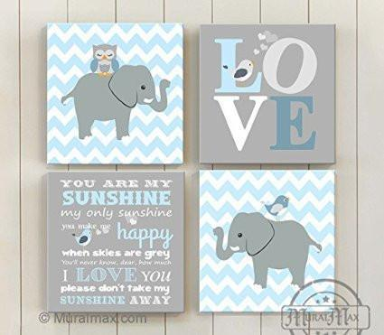You Are My Sunshine Nursery Art - Chevron Canvas Decor -The Owl & Elephant Collection - Set of 4