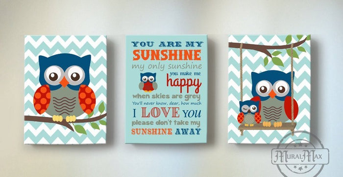 You Are My Sunshine Nursery Decor For boy - Unique Nursery Art Baby Boy - New Baby Gifts - Set Of 3