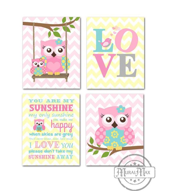 You Are My Sunshine Owl & Love Nursery Wall Decor - Set of 4 - Unframed Prints-Pink Aqua Yellow Decor