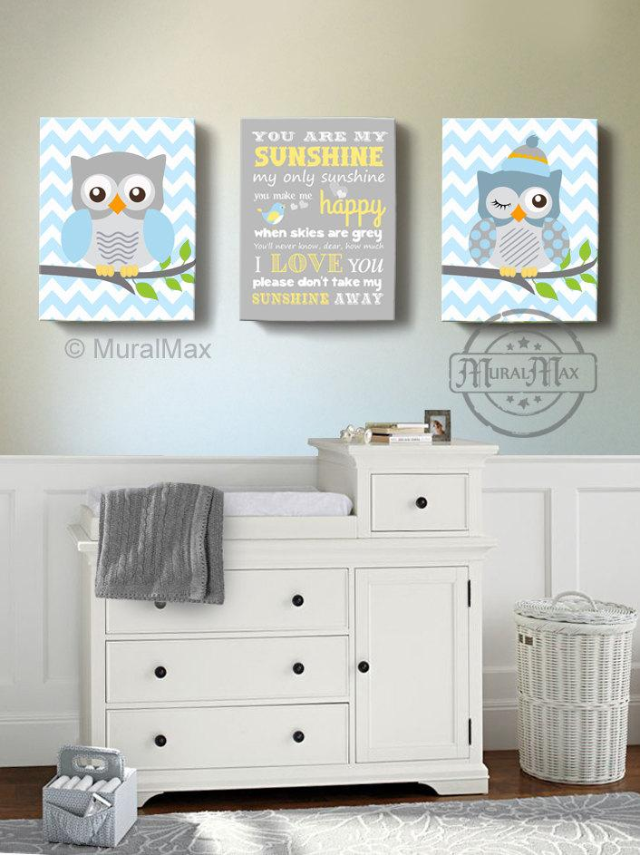 You Are My Sunshine Owl Nursery Art - Chevron Baby Blue Canvas Nursery Decor - Set Of 3-MuralMax Interiors
