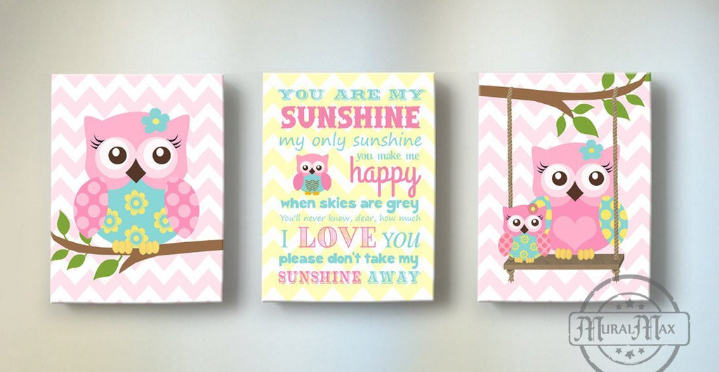 You Are My Sunshine Owl Nursery Art For Girl - Unique Nursery Art For Baby Girl - New Baby Gifts - Set Of 3 -Aqua Pink Yellow Decor-MuralMax Interiors