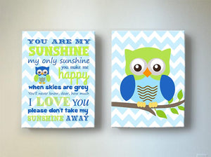 You Are My Sunshine Owl Nursery Art In Blue Green - Chevron Canvas Art - Set of 2-MuralMax Interiors