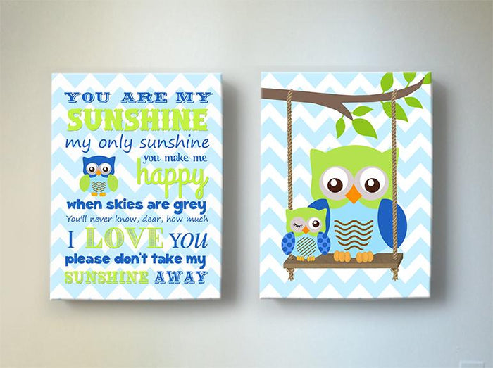 You Are My Sunshine Owl Nursery Art In Blue Green - Chevron Canvas Art - Set of 2