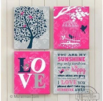 You Are My Sunshine Theme - Canvas Home Decor -The Love Collection - Set of 4-B018ISJR8Q-MuralMax Interiors