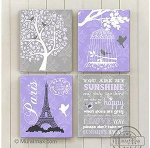 You Are My Sunshine Theme - Canvas Home Decor -The Paris Collection - Set of 4-B018ISJI44-MuralMax Interiors