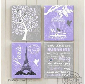 You Are My Sunshine Theme - Canvas Home Decor -The Paris Collection - Set of 4-B018ISJI44