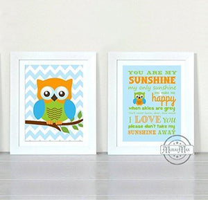 You Are My Sunshine Whimsical Friends - Chevron Unframed Prints - Set of 2-B018KOGE20-MuralMax Interiors
