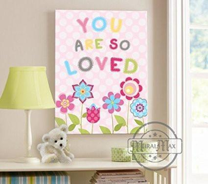 You Are So Loved Theme - Canvas Nursery Decor - Polka Dots & Flower Collection-B018ISMB66-MuralMax Interiors