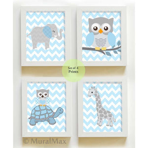 Zoo Animals Baby Boy Nursery Decor - Blue Gray Baby Nursery Art - Unframed Prints - Set of 4-MuralMax Interiors